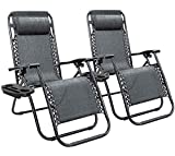 Homall Zero Gravity Chair Adjustable Folding Lawn Lounge Chairs Outdoor Lounge Gravity Chair Camp Reclining Lounge Chair with Pillows for Poolside Backyard and Beach Set of 2 (Double-Gray)