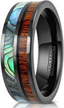 King's Cross Exquisite Hi-Tech Ultra-Light 8mm Gunmetal Black Flat Ceramic Band Ring with Iridescent Abalone Shell & Koa Wood Inlays