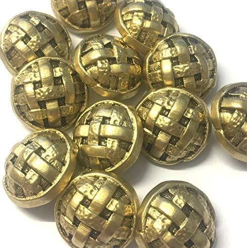 10 x Goud Metallic Decoratieve Blazer Knopen met Keltische knoop Detail 20mm Rond