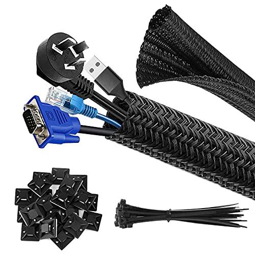 CHZHLI Canaleta para cables, 3,05 m, color negro, diámetro 13 – 20 mm, con 20 bridas y 20 unidades autoadhesivas, soporte base para zócalos, escritorio, ordenador, TV