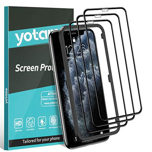 yotame Protector Pantalla para iPhone 11 Pro, 3 Piezas Cristal Templado iPhone X/XS Cobertura Completa Vidrio Templado Anti-Burbujas Alta Definicion 9H Vidrio Cristal Templado para iPhone 11 Pro/X/XS