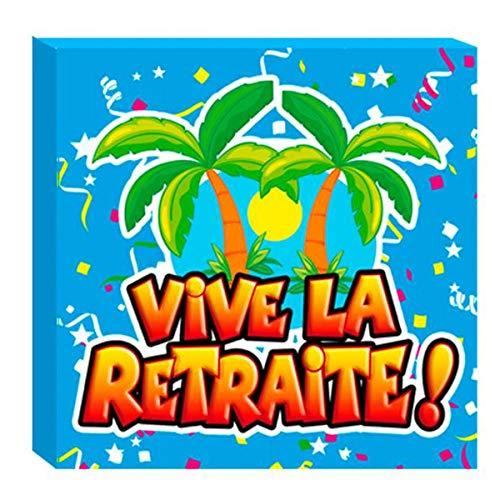 Les Trésors De Lily [A0460 - Pack de 20 Serviettes en Papier 'Vive la Retraite !' Multicolore - 16.5x16.5 cm