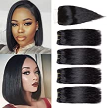 Ameli Brazilian Hair 4 Bob Bundles With Closure 4x4 Short Human Hair Weave Bundles With Lace Closure Free Part 8A Brazilian Straight Hair 8 inch Natural Color (8 8 8 8+8 closure)