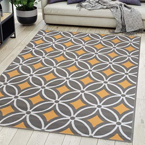 Carpeto Rugs Tapis Salon Geometrique Moderne Gris 250 x 300 cm Différentes Tailles Poils Courts