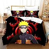 Juego de Cama de Tres Piezas de Anime Naruto Impreso en 3D, 1 Funda de edredón y 2 Fundas de Almohada, 100% Microfibra para el hogar-a-a_150X200CM