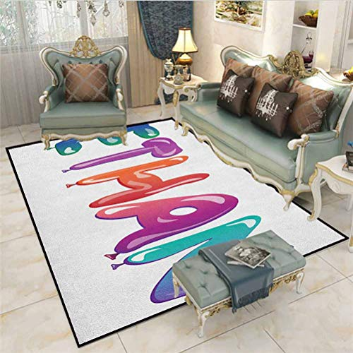 Ethan Runner Rugs Outdoor Camping Rugs Colorful Letters in The Shape of Balloons Happy Birthday Celebration Themed Font Computer Chair mat for Carpet Multicolor 5 x 7 Ft