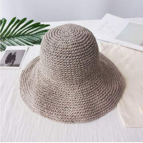 APWY Summer Fashion Women Straw Hat Lady Summer Sun Hat Gorra de Visera Panama Style Bucket Cap Strawhat Beach Hat Gorra de niña al Aire Libre-3_Los 55-59cm