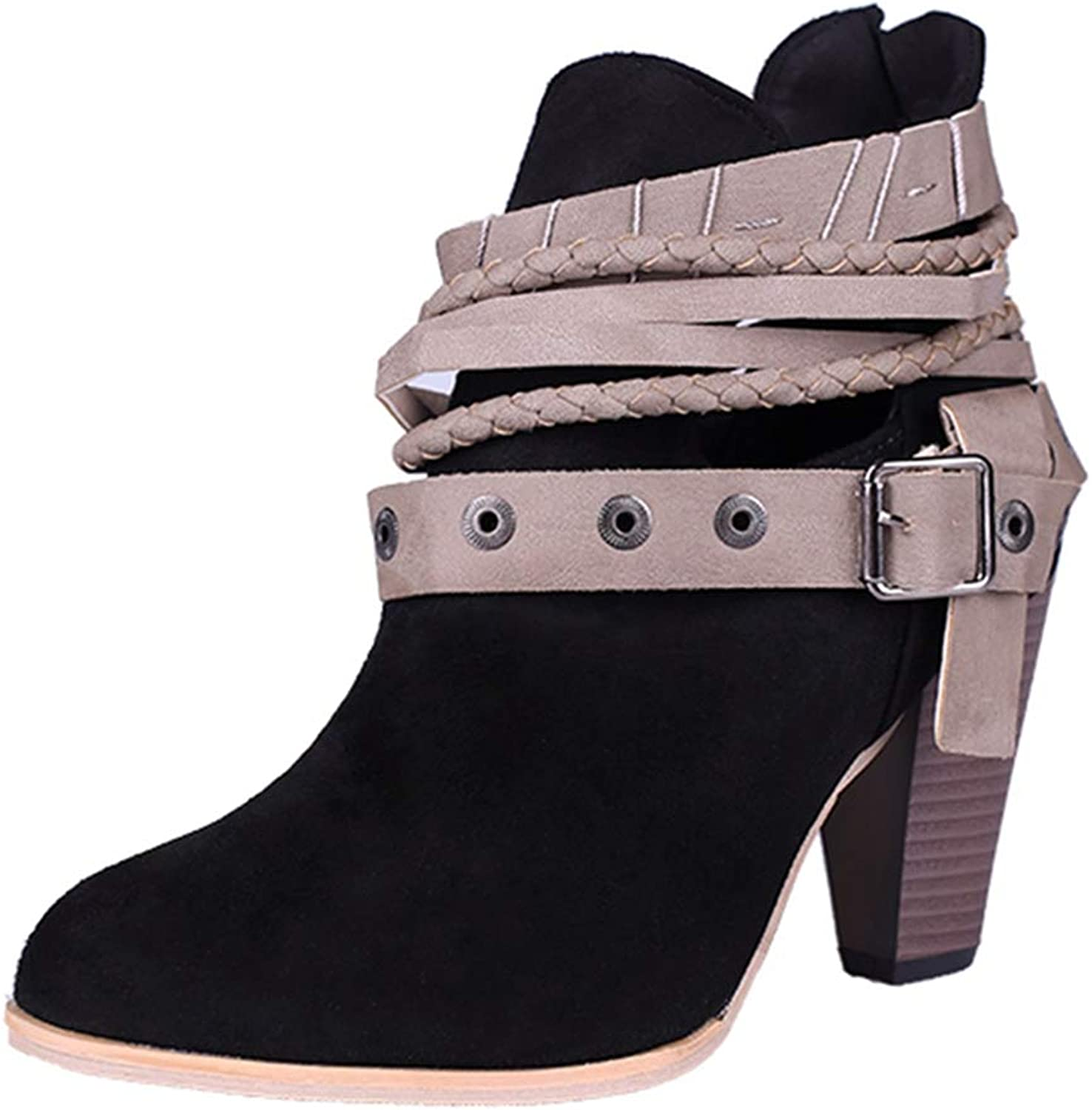 GIY Women's Close Toe Buckle Strap Stacked Heel Ankle Boots Suede Platform Zip Bootie Martin Short Boots