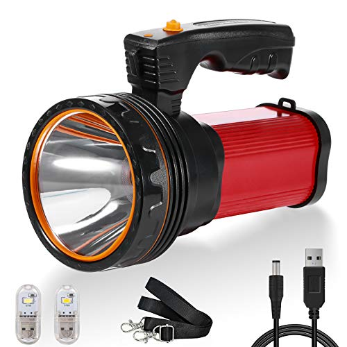 Ricaricabile Torcia Lanterna LED, Torcia Campeggio 6000mAh 6000 Lumen USB Ricaricabile Searchlight Spotlight Flashlight da Campeggio, Pesca, Trekking, Emergenze Escursioni, IPX4 Impermeabile