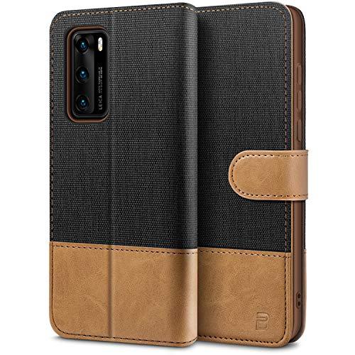 BEZ Handyhülle für Huawei P40 Hülle, Tasche Kompatibel für Huawei P40, Schutzhüllen aus Klappetui mit Kreditkartenhaltern, Ständer, Magnetverschluss, Schwarz