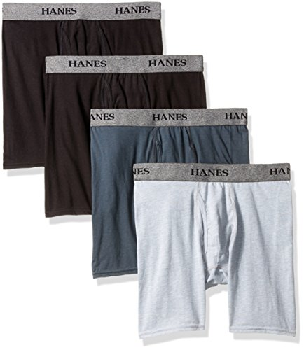 Hanes Ultimate Men's 4-Pack FreshIQ Stretch Boxer with ComfortFlex Waistband Brief, Assorted, Medium