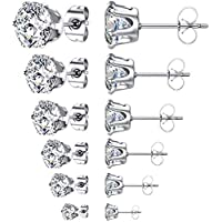 6-Pack Ywduoying Round Clear Cubic Zirconia Stud Earrings (Style A)