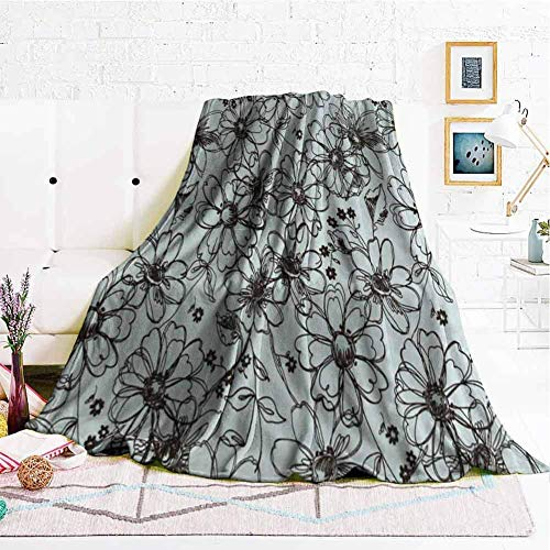 QHMY Decke 50x60 Inch Soft Decor Throw Blanket Watercolor Greenery Set Botanical Winter with Eucalyptus Branch and Blue Hydrangea Warm Cozy Flannel Bed Blankets for Sofa Couch Chair Living Bedroom 50