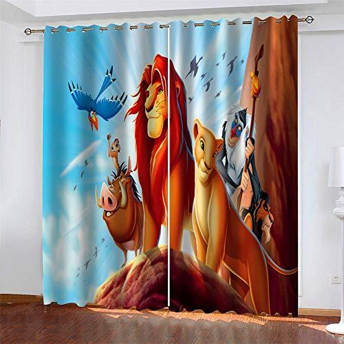 Meer 2er-Set Verdunkelungs Vorhang,Der König der Löwen Anime Kinder Gardinen Ösen Gardine Thermo Polyester Schlafzimmer Vorhänge Dekoratives Muster Européen 229 x 234 cm (HxB)