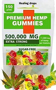 Premium Organic Hemp Sugar-Free Gummy Bears Natural Health Support 500,000MG High Potency Relaxing Stress Anxiety Relief Vitamins B E C D Omega 3 6 9