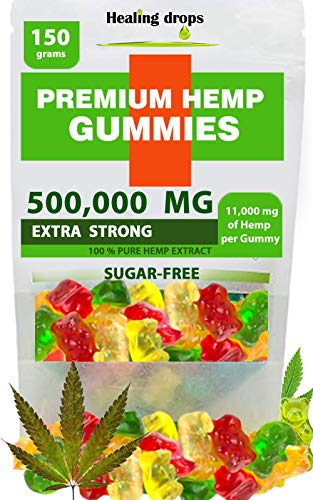 Premium Organic Hemp Sugar-Free Gummy Bears Natural Health Support 500,000MG High Potency Relaxing Stress Anxiety Relief Vitamins B E C D Omega 3 6 9