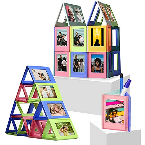 INHOTIKY Cornice magnetica per foto, Polaroid Photo Frame Mini 3-Inch Magnetic Film, blocchi da costruzione fai da te Assemblato Foto Set Frigorifero Sticker, Cornici per bambini