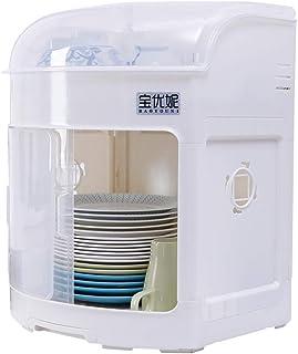 Aparador Baoyouni con puerta corredera y tapa transparente organizador de vajilla color marfil