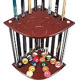Kacsoo 8 Hole Pool Cue Rack, Cue Rack Floor Stand, Billiard Stick Stand Holds 8 Cues & Ball Set, Corner Floor Stand Cue Holder Snooker - Oak, Rich Brown, Burgundy - Cue Rack Only (US Stock)