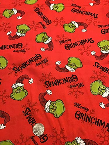 Christmas Fabric, The Grinch-1 Fabric, 100% Cotton, Size: Fat Quarter / 18' x 21' OR 1/4 Yard (8'x44')
