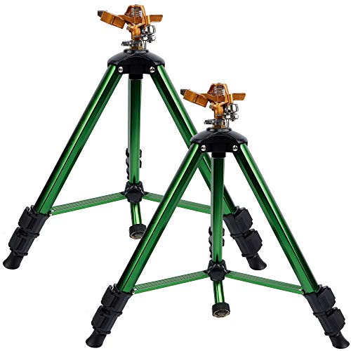 Twinkle Star Impact Sprinkler Head on Tripod Base, Heavy Duty Brass Sprinkler Nozzle, Solid Alloy Metal Extension Legs Flip Locks, 3/4 Inch Quick Connector and Adapter Set, 360 Degree Coverage, 2 Pack
