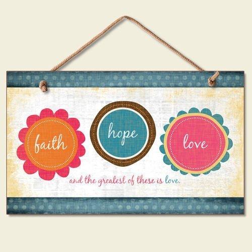 Aersing Dekorative Schilder mit Sprüchen Glaube Hoffnung Liebe Greatest is Love Holzschild Willkommen Schild Rustikal