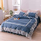 IVQAPP Nordic Style Simple Fitted Sheet Bed Skirt with White Lace 4 Piece Single Double King Lovely Bedding Girl Home in 8 Colors Dark Blue King