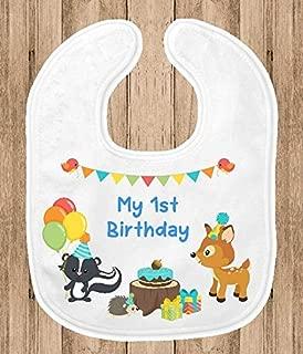 Baby Bib - 1st Birthday Party Smash Cake Bib - Woodland Animals Theme