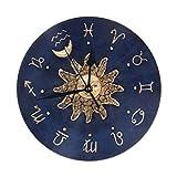Mailine Reloj de Pared Redondo Zodiac Gold Sun Reloj de Pared Redondo Silencioso No Funciona con Pilas Fácil de Leer Arte Decorativo del Reloj