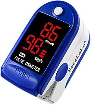 FaceLake ® FL400 Pulse Oximeter Fingertip with Carrying Case Batteries Lanyard and Warranty  Blue