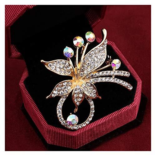WanXingY Pin de la Broche de la Flor de la Moda para Las Mujeres Luxury Golden Rhinestone Broche con Encanto Broche (Color : XZ099)