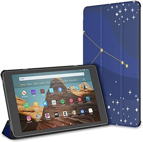 Estuche para Tableta Aquarius Blue Temperament Constellation Fire HD 10 (9.a / 7.a generación, versión 2019/2017) Fundas y Fundas para Tableta Kindle Fire 10 Estuche para Tableta Fire Auto Wake/SLE