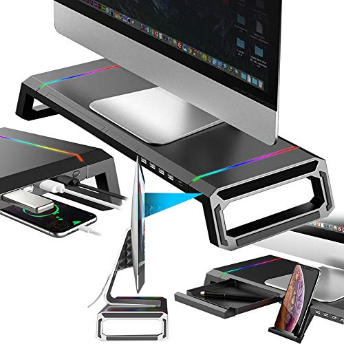 DSMGLRBGZ Monitor Stand, Monitor Riser Four Port Usb Expansion Folding Non-Slip Phone Tablet Holder 30Kg for Reasonable Perspective Increased Waterproof Laptop Stand Laptop Riser,A