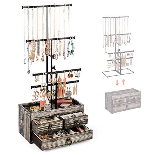 Organizador de joyas de metal de 4 niveles con caja de almacenamiento básica de madera, 3 cajones y soporte de collar de altura ajustable para pendientes, collares, anillos y pulseras, madera rústica