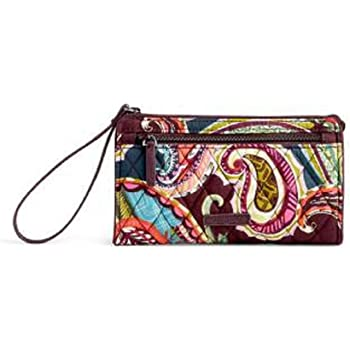 Vera Bradley Women's Signature Cotton RFID Front Zip Wristlet, Heirloom Paisley, One Size