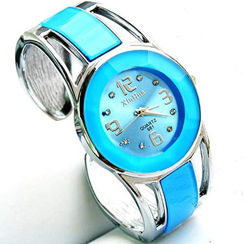 Damen Armbanduhr, VECOLE Kleine und Exquisite arabische Ziffern Zifferblatt Armreif Uhr Quarz Analoganzeige Uhr Einfach und elegant Großzügig Präzises Uhrwerk 12 Stunden Zifferblatt(Himmelblau)