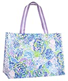 Lilly Pulitzer Purple/Blue XL Market Shopper Bag, Oversize Reusable Grocery Tote with Comfortable Shoulder Straps, Shell of a Party
