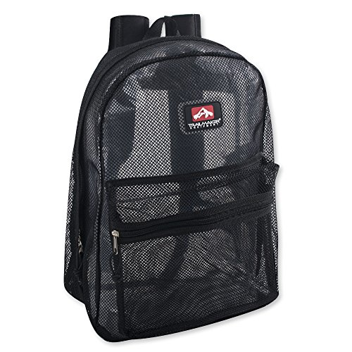 Transparent Mesh Backpacks for School Kids, Beach, Travel - Mesh See Through Backpack with Padded Straps (Black)