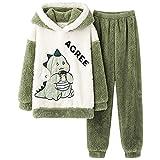Pijama de dibujos animados con capucha, para hombre, traje de dos piezas, parte superior de manga larga y pantalones de dormir, juego de ropa de casa suave y cálida, verde, XL