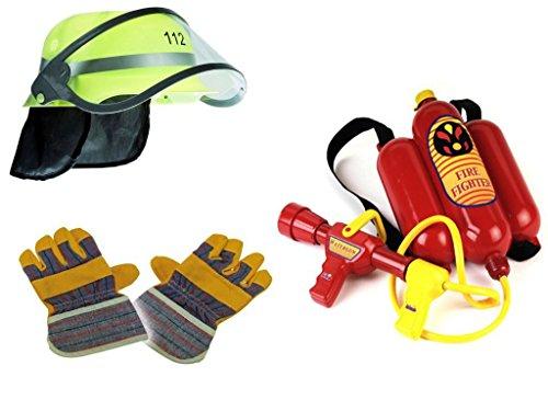 Kaufen-schenken-spielen Feuerwehr Mega Set 3-teilig ! Helm, Handschuhe & Wasserspritze Karneval