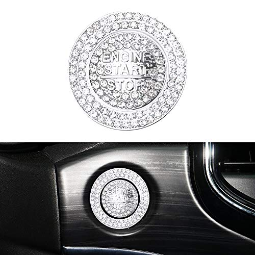 LECART Start Stop Button Cover Bling Car Accessories for Jeep Grand Cherokee 2014-2021 Crystal Start Stop Button Stickers Auto Interior Ignition Button Decoration Cover Trims Silver Pack of 2