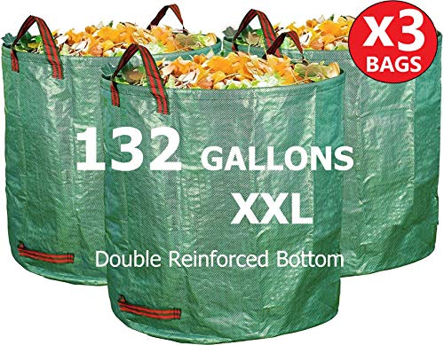 3 Pack of 132 Gallon Bags - Perfect for Lawn, Garden, Leaf/Leaves, Yard Debris/Waste, Storage and Pool Accessories - Reinforced Bottom - Giant XL Size