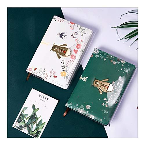 HJHJ Cuadernos Cerradura de combinación Notebook, Diario con Horizontal Core, 80 gr de Papel Superior de Grueso, Enc Piel Diario, Oficina for la Escuela blocs de Notas (Color : Green+White)