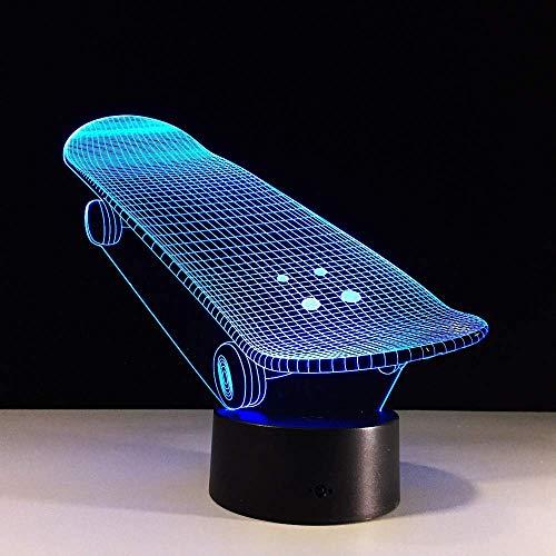 Led Nachtlicht-3D Vision-Sieben Farben-Fernbedienung-Kreative Illusion Skateboard Nachtlicht Bunte Veränderung Atmosphäre Lichter Kinder Baby Schlafzimmer Schlaf Beleuchtung Kinder Geschenk