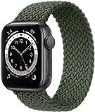 Fengyiyuda Correa Solo Loop Trenzada Compatible con Correa Apple Watch 38/40/42/44mm,Soft Sport Reemplazo Elástica de Correa Nylon Compatible con iWatch Serie 6/5/4/3/2/1/SE,Verde Inverness,42-8