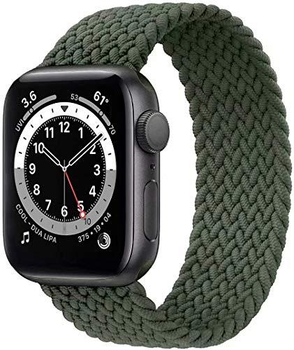 Fengyiyuda Solo Loop Intrecciato Compatible con Cinturino Apple Watch 38mm 40mm 42mm 44mm, Sportiva Nylon Ricambio Elastica Cinturino Compatible con Iwatch Series 6/5/4/3/2/1/SE,Inverness Green,42-8