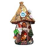 TERESA'S COLLECTIONS 31cm Adorno de Jardín Casa de Hadas Luz Solar LED, Decoracion de Jardin de Casa del árbol de Resina con Gnomo y Techo de Paja, Decoracion de Navidad para Hogar