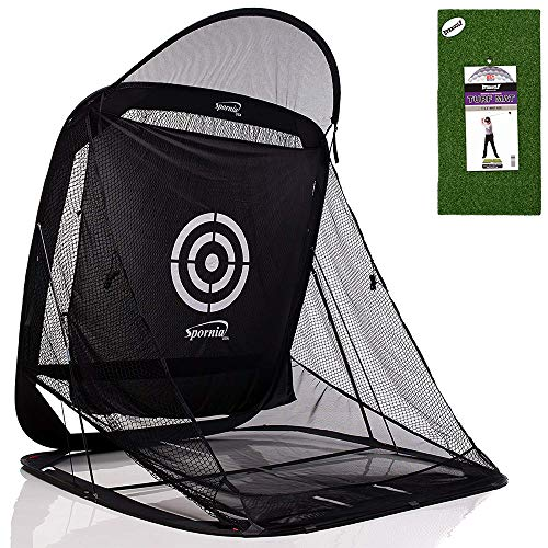 Spornia SPG-7 Golf Practice Net- EverGolf (1' x 2') Performance Turf Golf Hitting Mat Bundle (with Roof)