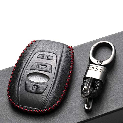 Vitodeco Leather Keyless Remote Smart Key Fob Case Cover with a Key Chain for 2019-2020 Subaru Forester, Impreza, Outback, WRX, BRZ, XV Crosstrek (4-Button, Black/Red)