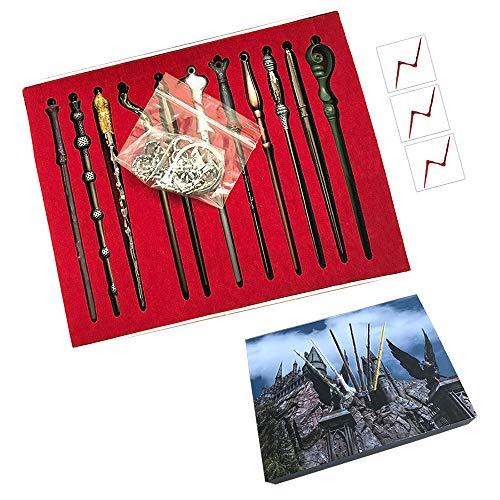11pc Zauberstab Set Metall Mini Zauberstab Cosplay Spielzeug für Kinder mit Schlüsselbund und Halskette, Dumbledore Voldemort Zauberstab In Einem Geschenkkarton